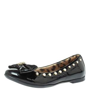 Roberto Cavalli Black Patent Leather Embellished Bow Ballet Flats Size 37