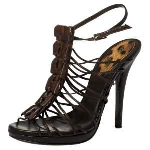 Roberto Cavalli Brown Leather Strappy Peep Toe Sandals Size 37.5