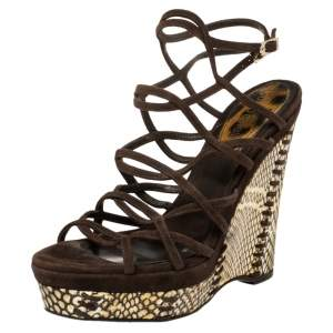 Roberto Cavalli Brown Suede And Python Wedge Strappy Wedge Sandals Size 38.5