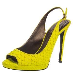 Roberto Cavalli Neon Green Python Peep Toe Slingback Sandals Size 38