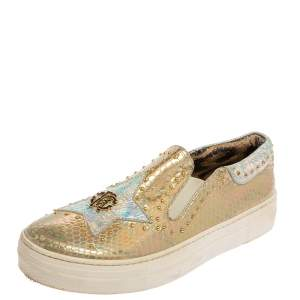 Robert Cavalli Gold Lizard Embossed Leather Slip On Sneaker Size 38