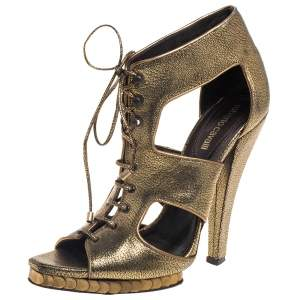 Roberto Cavalli Metallic Bronze Leather Lace Up Ankle Booties Size 39