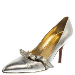 Roberto Cavalli Silver Leather Slip On Pointed Toe Pumps Size 38