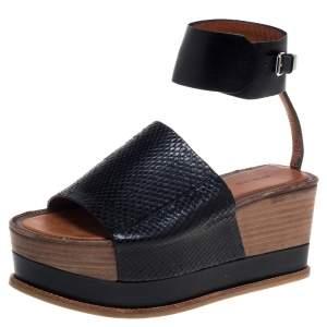 Roberto Cavalli Black Python Leather Platform Ankle Cuff  Sandals Size 37