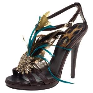 Roberto Cavalli Brown Leather Feather Detail Sandals Size 38