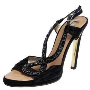 Roberto Cavalli Black Satin Embellished Slingback Sandals Size 37.5