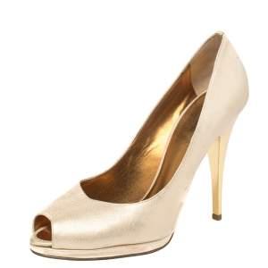 حذاء كعب عالي روبرتو كافالي جلد ذهبي ميتاليك مقدمة مفتوحة مقاس 41