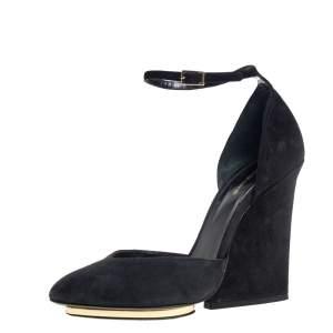 Roberto Cavalli Black Suede Ankle Strap Block Heels Pumps Size 37