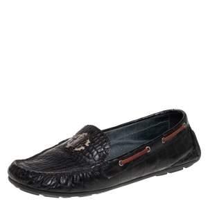 Roberto Cavalli Black Croc Embossed Leather Slip on Loafers Size 40