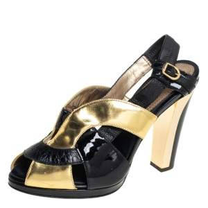 Roberto Cavalli Black/ Gold Patent Leather  And Leather  Ankle Strap Sandals Size 38