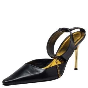 Roberto Cavalli Black Leather Ankle Strap Sandals SIze 38