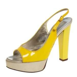 Roberto Cavalli Yellow Patent leather Slingback Sandals Size 36.5
