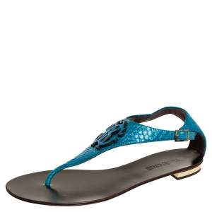 Roberto Cavalli Blue Python Embossed Leather Logo Embellished Thong Flat Sandals Size 39