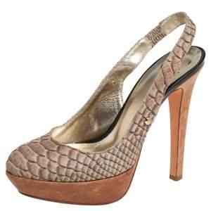 Roberto Cavalli Grey Python Embossed Leather Slingback Platform Sandals Size 36