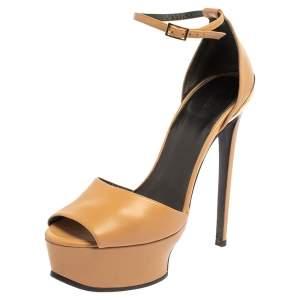Roberto Cavalli Beige Leather Ankle Strap Platform Sandals Size 38