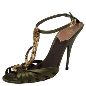 Roberto Cavalli Olive Green Satin Snake Embellished Ankle Strap Sandals Size 39
