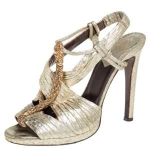 Roberto Cavalli Gold Python Snake Embellished Slingback Sandals Size 38