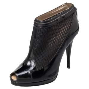 Roberto Cavalli Black Patent Leather And Mesh Peep Toe Booties Size 39