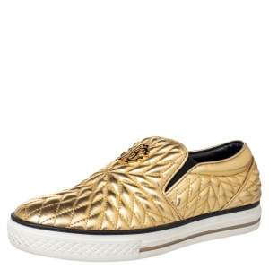 Roberto Cavalli Gold Quilted Leather Logo Embellished Slip On Sneakers Size 38