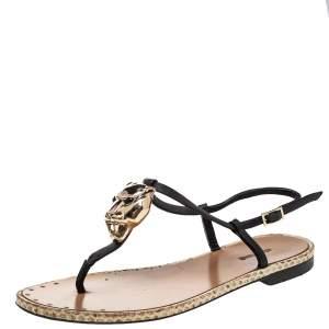 Roberto Cavalli Black Leather Tiger Logo Embellished Thong Flat Sandals Size 36