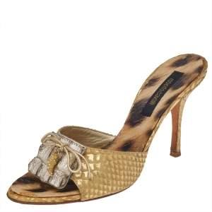 Roberto Cavalli Gold Python Embossed Leather Embellished Slide Sandals Size 37.5