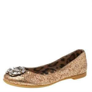 Roberto Cavalli Metallic Gold Python Embossed Leather Logo Embellished Ballet Flats Size 36