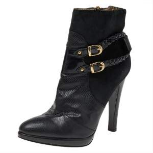Roberto Cavalli Black Suede And Snake Skin Ankle Length Boots Size 37