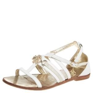 Roberto Cavalli White Leather Open Toe Embellished Flats Size 38