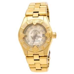ساعة يد نسائية روبرتو كافالي دايموند تايم 7253116565 ستانلس ستيل مطلي ذهب مقاس 38مم