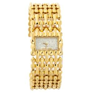 Roberto Cavalli Crystal Pave Yellow Gold Plated Stainless Steel Oryza R7253146517 Women's Wristwatch 29 mm