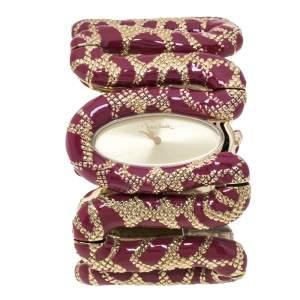 Roberto Cavalli Gold Plated Stainless Steel Burgundy Cleopatra R7253195647 Women's Wristwatch 42 mm