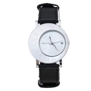 Roberto Cavalli Silver Stainless Steel Leather Meteora R7251116015 Women's Wristwatch 39 mm