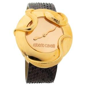Roberto Cavalli Rose Gold Plated Stainless Steel Python Leather Snake R7251165917 Women's Wristwatch 37 mm