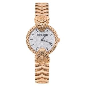 Roberto Cavalli By Franck Muller Silver Crystal Pave Rose Gold Tone Stainless Steel RV2L042M0051 Women's Wristwatch 32 mm