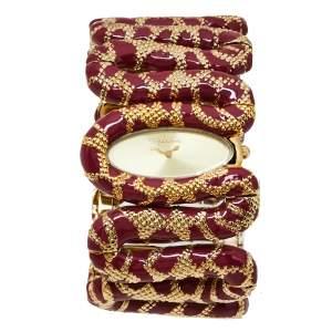 Roberto Cavalli Gold Ruby Red Stainless Steel Cleopatra Quartz Women's Wristwatch 40M