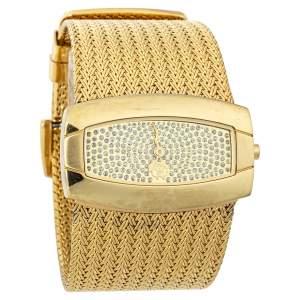 Roberto Cavalli Gold Tone Stainless Steel Ellisse R7253114617 Women's Wristwatch 40mm