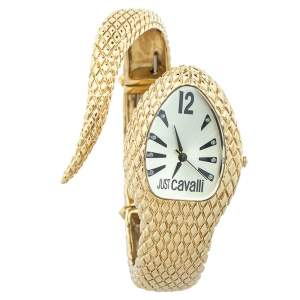 Just Cavalli Gold Plated Stainless Steel Serpent Bracelet Poison R7253153517 Women's Wristwatch 27 mm