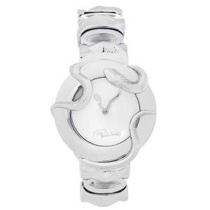Roberto Cavalli Silver Stainless Steel Snake R7253165515 Women's Wristwatch 37 mm