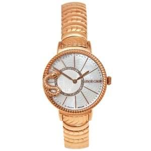 ساعة يد نسائية روبرتو كافالي باي فرانك مولر ثعبان 2L022.6 ستانلس ستيل مطلي ذهبي صدف 34 مم