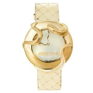 ساعة يد نسائية روبرتو كافالي ثعبان 7251165617 ستانلس ستيل مطلي ذهب شامبانيا 37 مم