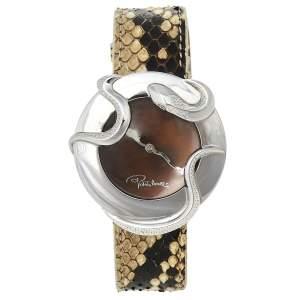 Roberto Cavalli Brown Stainless Steel Python Leather Snake SWL010 Women's Wristwatch 37 mm