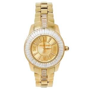 Roberto Cavalli Gold Plated Stainless Steel Tempus 51839 Women's Wristwatch 37 MM