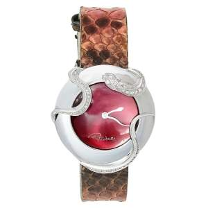 ساعة يد نسائية روبرتو كافالي 7251165523 ستانلس ستيل كستنائي وألماس ثعبان 38 مم