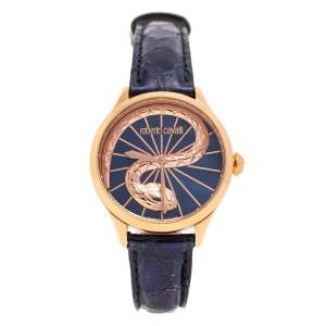 Roberto Cavalli by Franck Muller Gold Plated Stainless Steel Leather RC-35 IL036 Women's Wristwatch 34 mm