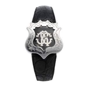 ساعة يد نسائية روبرتو كافالي R7251122025 جلد كلاسيكي وستانلس ستيل أسود 42 مم