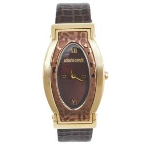 Roberto Cavalli Brown Gold Plated Stainless Steel Leather SWJ002/07403 Women's Wristwatch 28 mm
