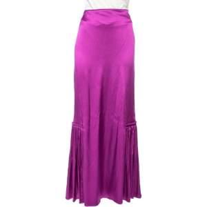Roberto Cavalli Purple Silk Satin Pleated trim Detail Maxi Skirt M