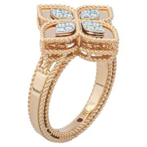 Roberto Coin Princess Flower Diamond 18K Rose Gold Ring Size 54