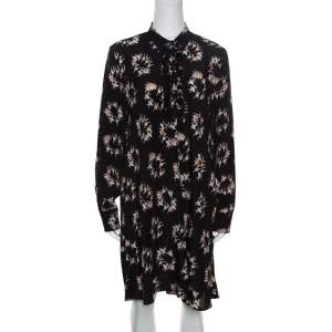 Rochas Black Ballerina Printed Silk Long Sleeve Shirt Dress L