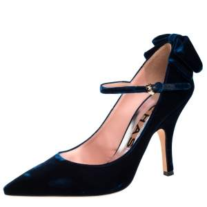 Rochas Blue Velvet Bow Ankle Strap Pointed Toe Pumps Size 40